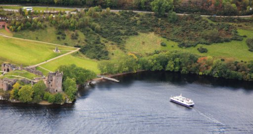 Jacobite Warrior approaching Urquhart Castle Loch Ness